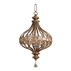 Pendant Light with Gold Cage Shades in Burnished Gold Finish