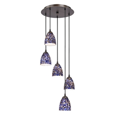 Design Classics Lighting Modern Bronze Multi-Light Pendant Light with Blue Art Glass 580-220 GL1009MB