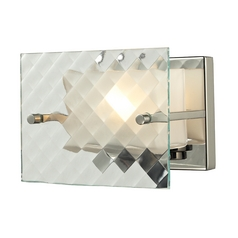Modern Sconce Wall Light with White Glass in Brushed Nickel Finish