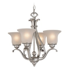 Frosted Seeded Glass Mini-Chandelier Brushed Nickel Vaxcel Lighting