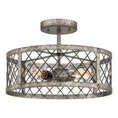 Farmhouse Industrial Semi-Flushmount Light Gold Booth by Quoizel Lighting