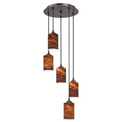 Design Classics Lighting Modern Multi-Light Pendant Light with Brown Art Glass and 5-Lights 580-220 GL1023C