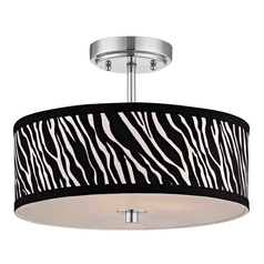 Chrome Ceiling Light with Zebra Print Drum Shade - 14-Inches Wide