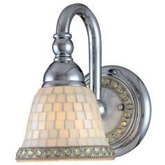Chrome Wall Sconce with Mosaic Glass