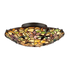 Flushmount Light with Multi-Color Glass in Vintage Bronze Finish