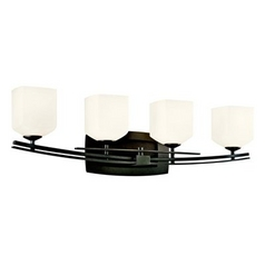 Kichler Lighting Kichler Bathroom Light with White Glass in Anvil Iron Finish 45264AVI