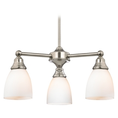 Traditional Satin Nickel Mini-Chandelier with Bell Glass