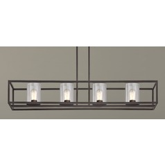 Industrial 4-Light Linear Chandelier with Clear Glass in Bronze