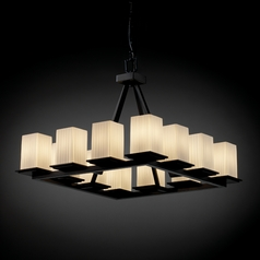 Justice Design Fusion 12-Light Chandelier in Matte Black
