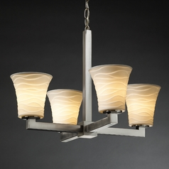 Justice Design Limoges 4-Light Chandelier in Brushed Nickel