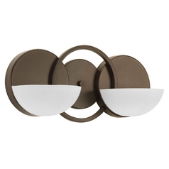 Modern Bathroom Light with White Glass in Antique Bronze Finish