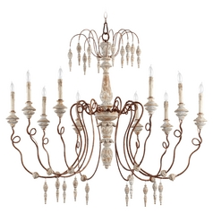 Quorum Lighting La Maison Manchester Grey with Rust Accents Chandelier