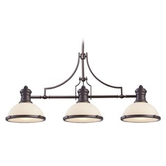 Elk Lighting Oiled Bronze Island Light with Bowl / Dome Shade