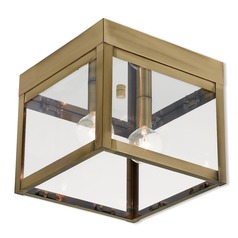 Livex Lighting Nyack Antique Brass Close To Ceiling Light