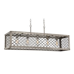 Farmhouse Industrial Island Chandelier Gold Booth by Quoizel Lighting