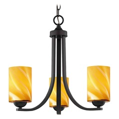 Design Classics Dalton Fuse Neuvelle Bronze Mini-Chandelier with Butterscotch Art Glass