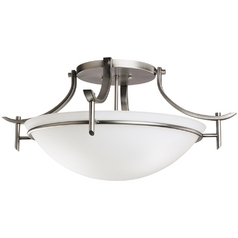 Kichler Modern Pewter Semi-Flushmount Light with White Glass
