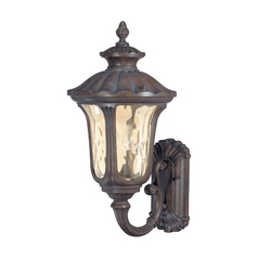 Outdoor Wall Light with Amber Glass in Fruitwood Finish