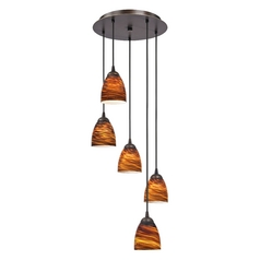 Design Classics Lighting Modern Multi-Light Pendant Light with Brown Art Glass and 5-Lights 580-220 GL1023MB