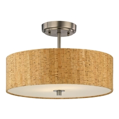 Cork Drum Ceiling Light in Satin Nickel Finish - 16-Inches Wide