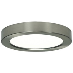 7-Inch Round Nickel Low Profile LED Flushmount Ceiling Light - 2700K