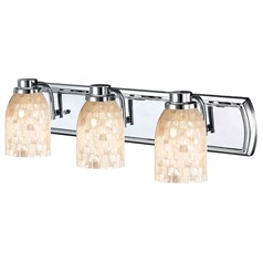 3-Light Mosaic Glass Bath Bar in Chrome