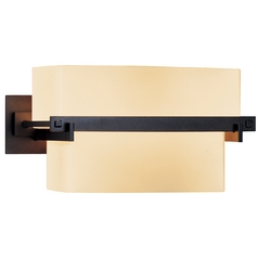 Sconce Wall Light with Beige / Cream Glass in Dark Smoke Finish
