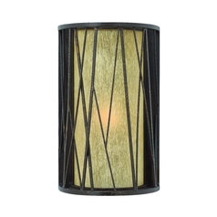Outdoor Wall Light with Amber Glass in Regency Bronze Finish