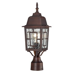 Post Light with Clear Glass in Rustic Bronze Finish