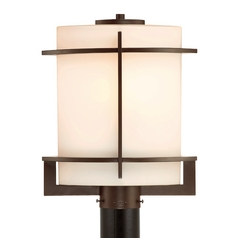 Modern Post Light with White Glass in Western Bronze Finish