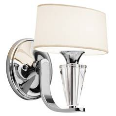 Kichler Modern Sconce Wall Light with White Shade in Chrome Finish