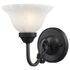 Elk Lighting Sconce Wall Light with White Glass in Matte Black Finish 241-BK