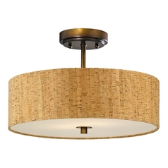 Design Classics Lighting Bronze Ceiling Light with Drum Cork Shade - 16-Inches Wide DCL 6543-604 SH9472