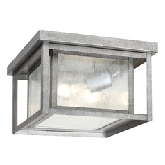 Close To Ceiling Light with Clear Glass in Weathered Pewter Finish