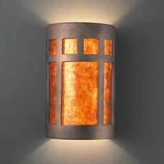 Sconce Wall Light with White in Antique Copper Finish