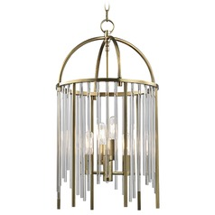 Lewis 4 Light Pendant Light - Aged Brass