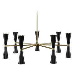Mid-Century Modern LED Chandelier Black and Vintage Brass Milo by Kalco Lighting