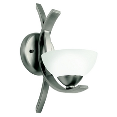 Kichler Modern Sconce Wall Light with White Glass in Pewter Finish