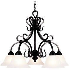 Elk Lighting Chandelier with White Glass in Matte Black Finish 245-BK