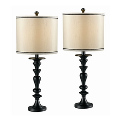 Table Lamp Set in Dark Graphite Finish