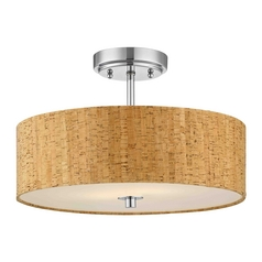 Chrome Ceiling Light with Drum Cork Shade - 16-Inches Wide