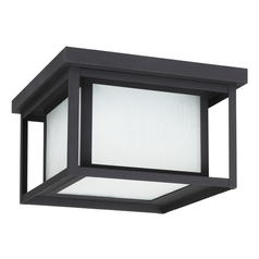 Close To Ceiling Light with White Glass in Black Finish