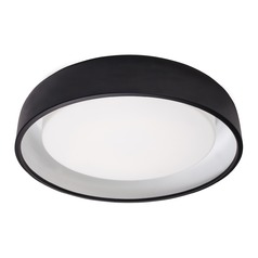 Modern Black LED Flushmount Light with Frosted Shade 3000K 1049LM