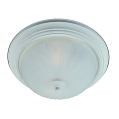 Flushmount Light with White Glass in Textured White Finish