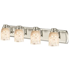 4-Light Mosaic Glass Bath Bar in Satin Nickel