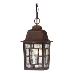 Outdoor Hanging Light with Clear Glass in Rustic Bronze Finish