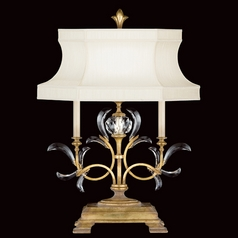Fine Art Lamps Beveled Arcs Gold Leaf Table Lamp with Hexagon Shade