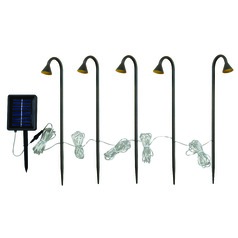 Solar Stake Lights- 5 Light String Matte Orb LED Solar Light by Kenroy Home