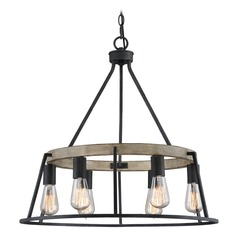 Farmhouse Industrial Chandelier Grey Ash Brockton by Quoizel Lighting