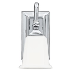 Traditional Sconce with White Glass in Polished Chrome Finish